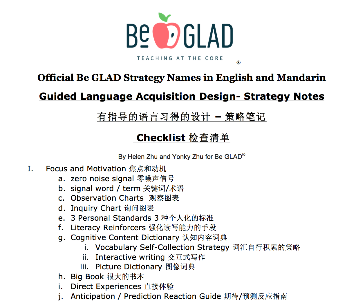 Mandarin Official Be GLAD Strategy Names